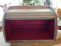 """antique roll top bread box in Annie Sloan Chalk Paint """"Duck Egg"""" and """"Emperor's Silk"""". $85"""