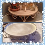 """Vanity stand upscaled from an old large candle holder in Annie Sloan Chalk Paint """"Old White"""" with """"French Linen"""""""