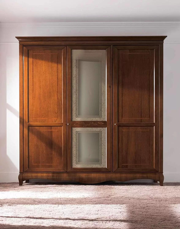 Armadio 3 ante, cassettiera interna, colore legno scuro, H ...