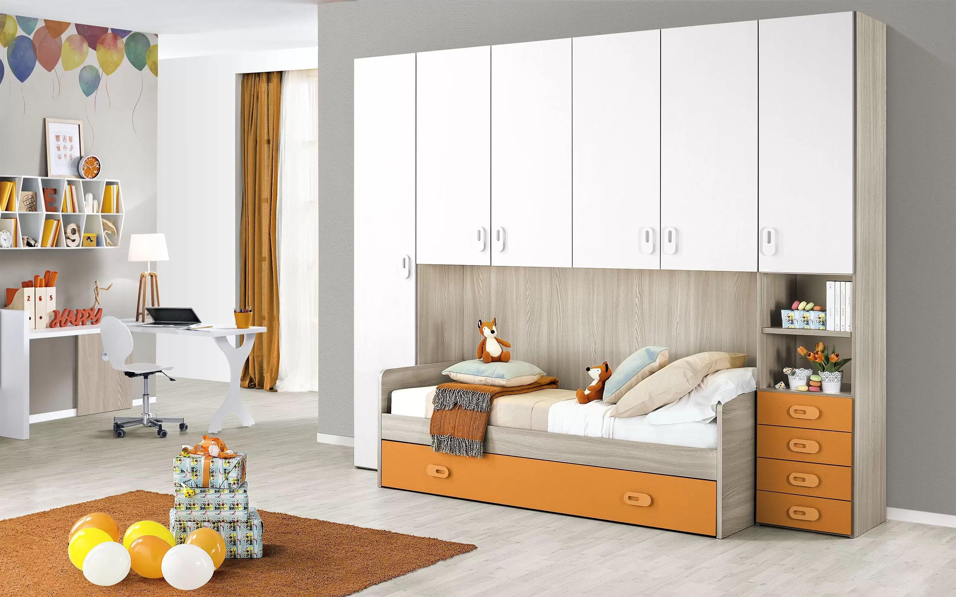 Camerette Bianche E Tortora cameretta completa a ponte - effetto olmo perla, bianco, arancio (letto  singolo e armadio) (cm. 295 x 93 x 245h) - dafne italian design