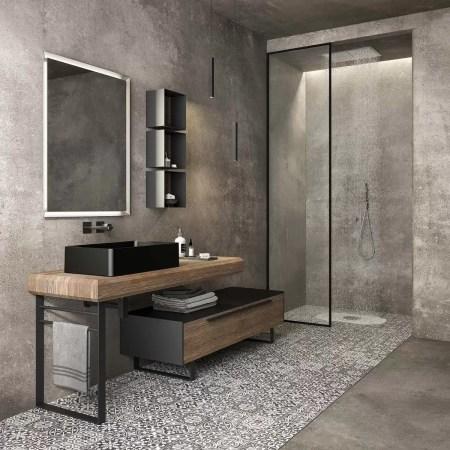 Mobile per bagno moderno con lavabo a terra.