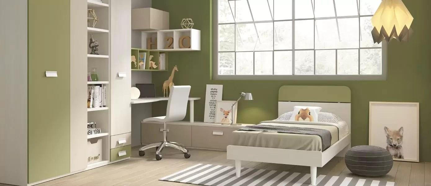 Camerette Bianche E Tortora cameretta completa per ragazzo, colori muschio, tortora, bianco, larice.  completa di: armadio - piano scrivania angolo - sedia girevole con ruote -