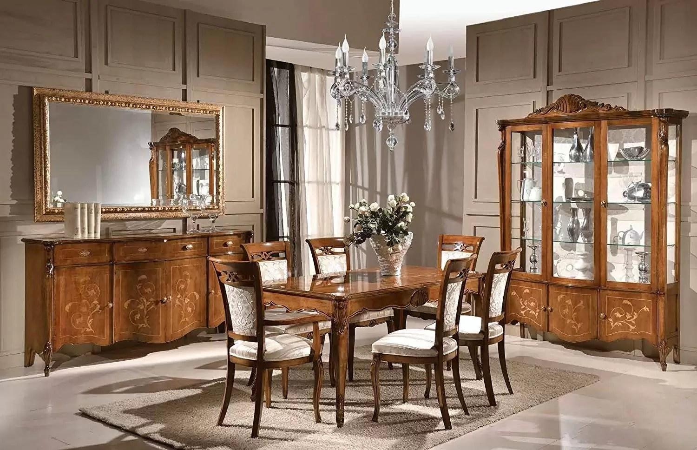 Mobiletto Sala Da Pranzo composizione sala da pranzo e soggiorno, colore legno scuro, composto da  tavolo rettangolare; 4 sedie, ; 2 sedie capotavola, ; credenza 4 porte 4