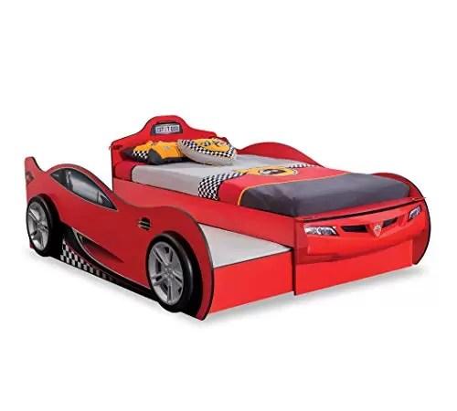 doppio letto a forma di auto da corsa rossa