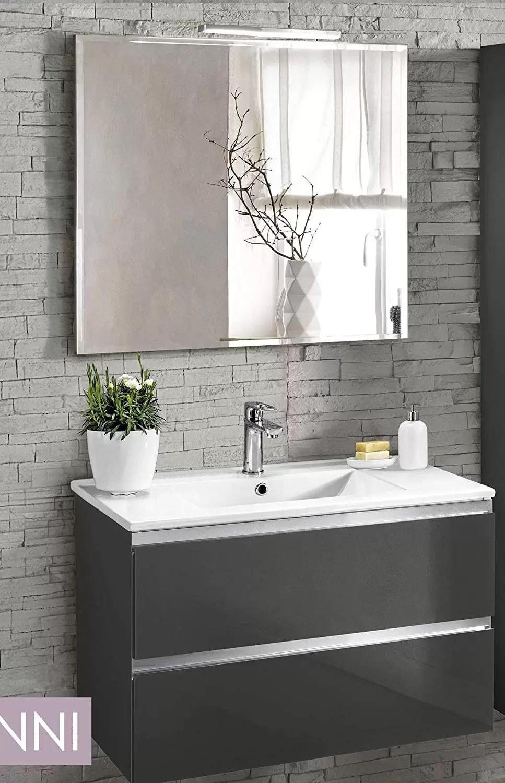 Bagno 2 X 2 mobile da bagno con lavabo - componibile bagno 2 cassetti con maniglia a  gola, lavabo e specchio con luce a led cm. 80 x 46 x 51h. (stmb) - dafne