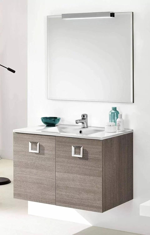Bagno 2 X 2 mobile da bagno con lavabo sospeso - componibile bagno sospeso 2 ante con  maniglie cromate, lavabo in ceramica e specchio con luce a led. cm. 81 x 47