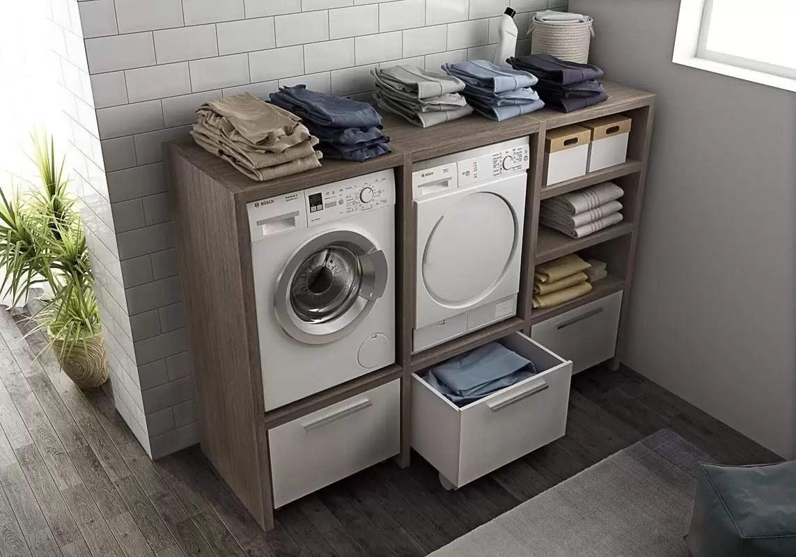 Mobile Bagno E Lavatrice mobile lavanderia porta lavatrice e porta asciugatrice e carrelli cesti  bucato -misura: h. 143 l.201 p.62 cm finitura: rovere tranche' scuro e  cesti