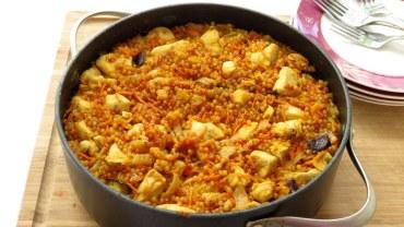 תבשיל פתיתים עם חזה עוף גזר וחצילים