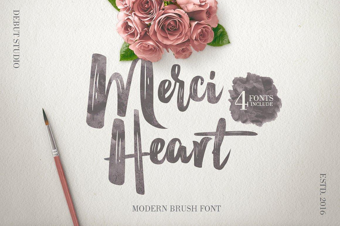 merci-heart-brush-font