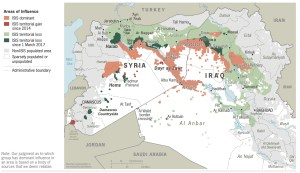 Picture credit to Washington Examiner. ISIS areas of influence as of May 2017. (Map courtesy of the Global Coalition Against Daesh)