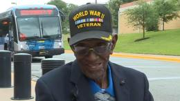 Richard Overton, oldest WWII vet goes to DC Museum for his 112th birthday. Photo credit to KVUE Screen Capture by US4Trump.