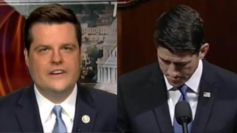 Matthew Gaetz (FL-R) blasts House speaker, Paul Ryan for his lack of support. Image credit to US4Trump with screen capture from Lou Dobbs show.