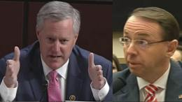 Meadows sees the documents were not complete from DOJ and FBI. Calls for Rosenstein's impeachment increase. Image credit to US4Trump with screen grabs and enhancements.
