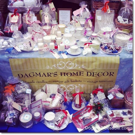 Dagmar's Home Decor handmade soy candles and unique gift baskets