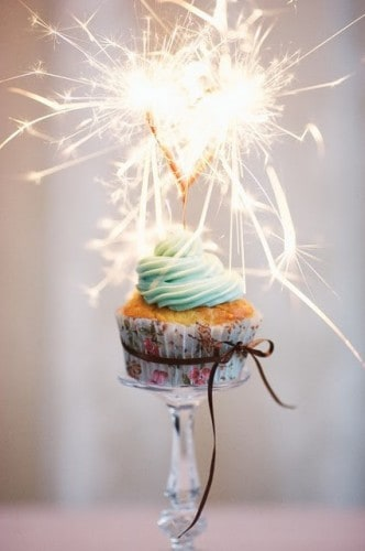 New Year's cupcake with fireworks