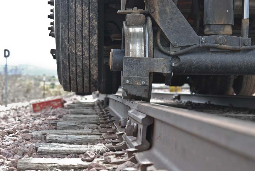 hyrail truck on railroad track