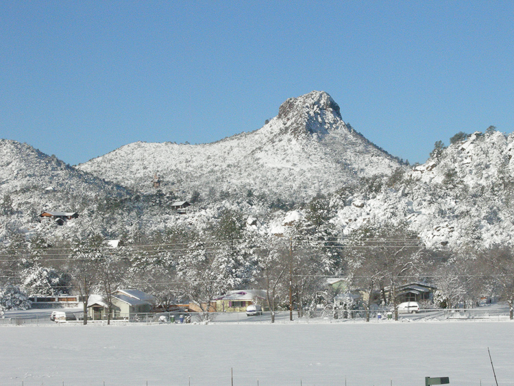 Thumb Butte in Snow Feb 09