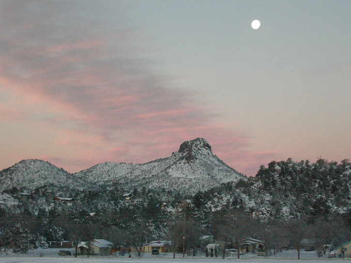 Moon Setting Over Thumb Butte with Snow