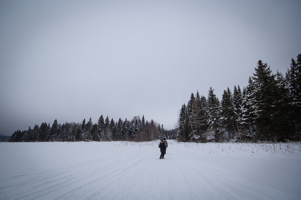 Personne seule sur un lac, devant la forêt enneigée.