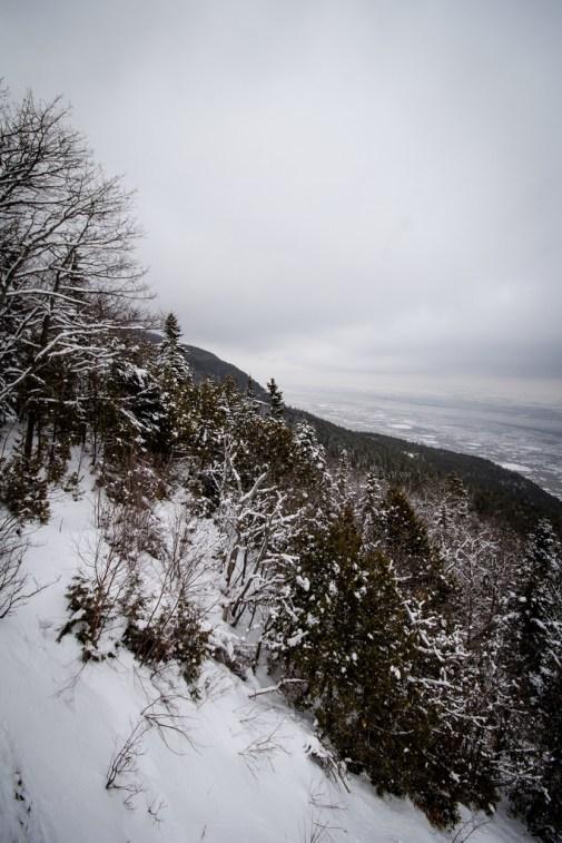 Le Saint Laurent et un morceau de colline enneigée.