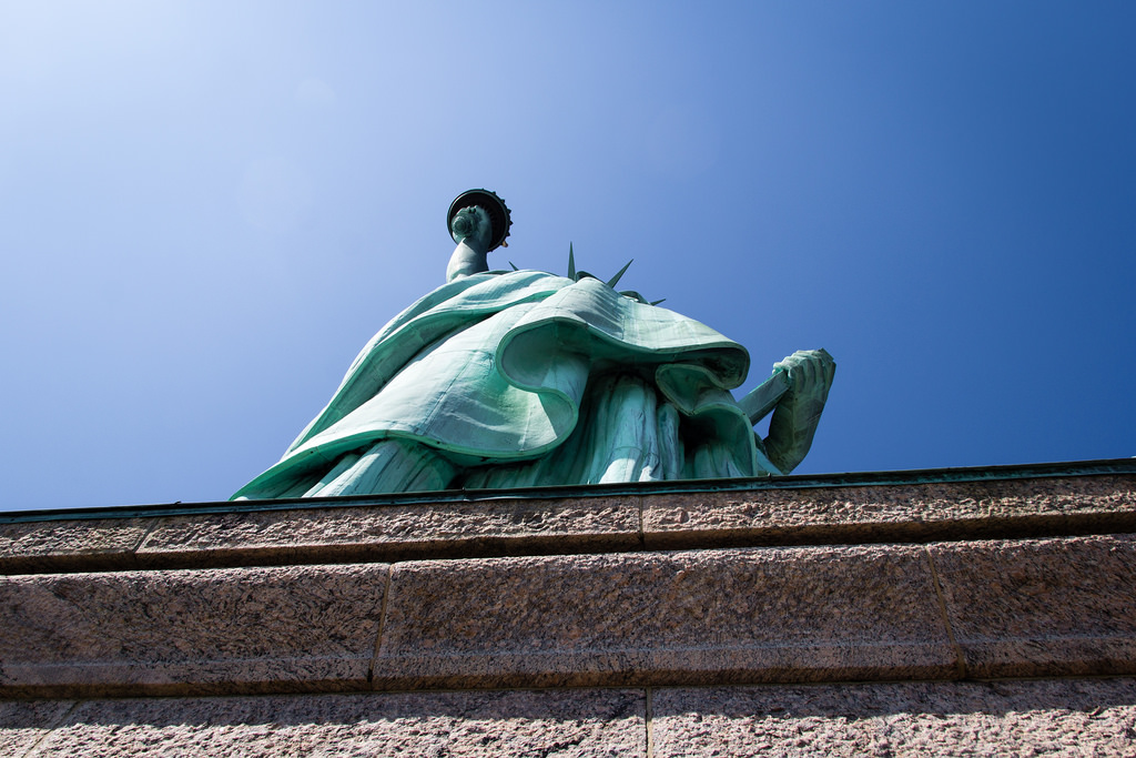 Statue de la Liberté, vue du dessous.