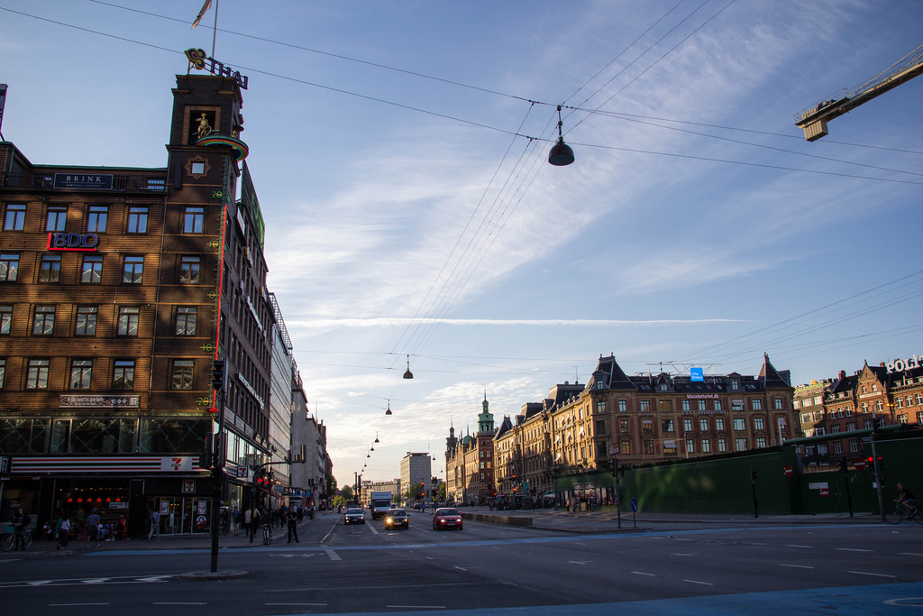 Carrefour dans les rues de Copenhague.