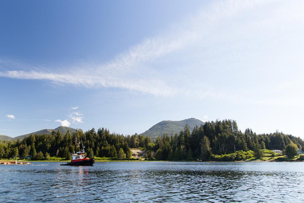 Zodiac et côte de l'ile de Vancouver.