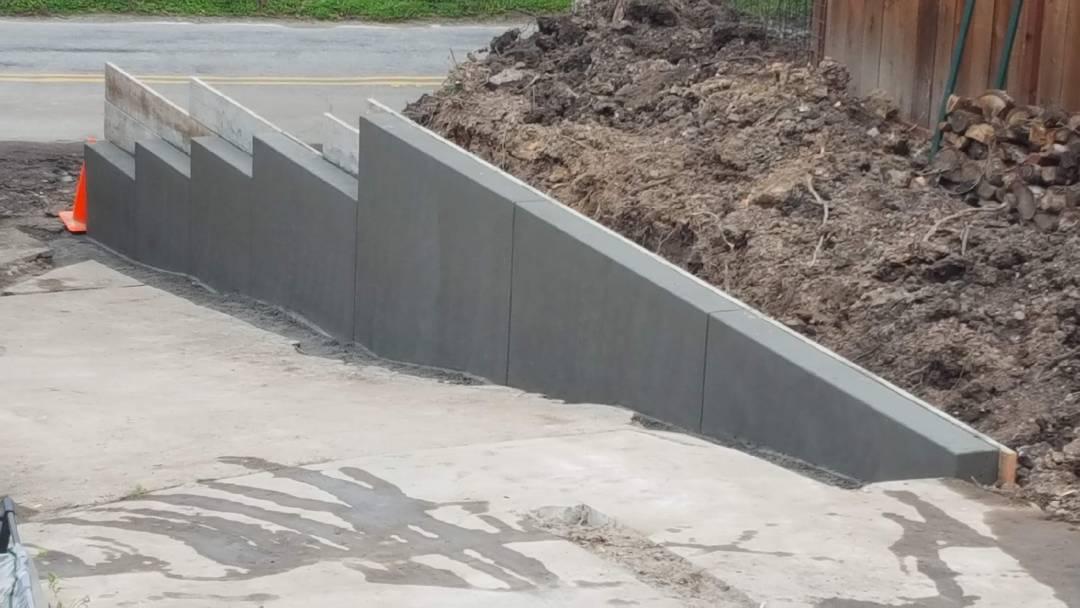 concrete driveway wall