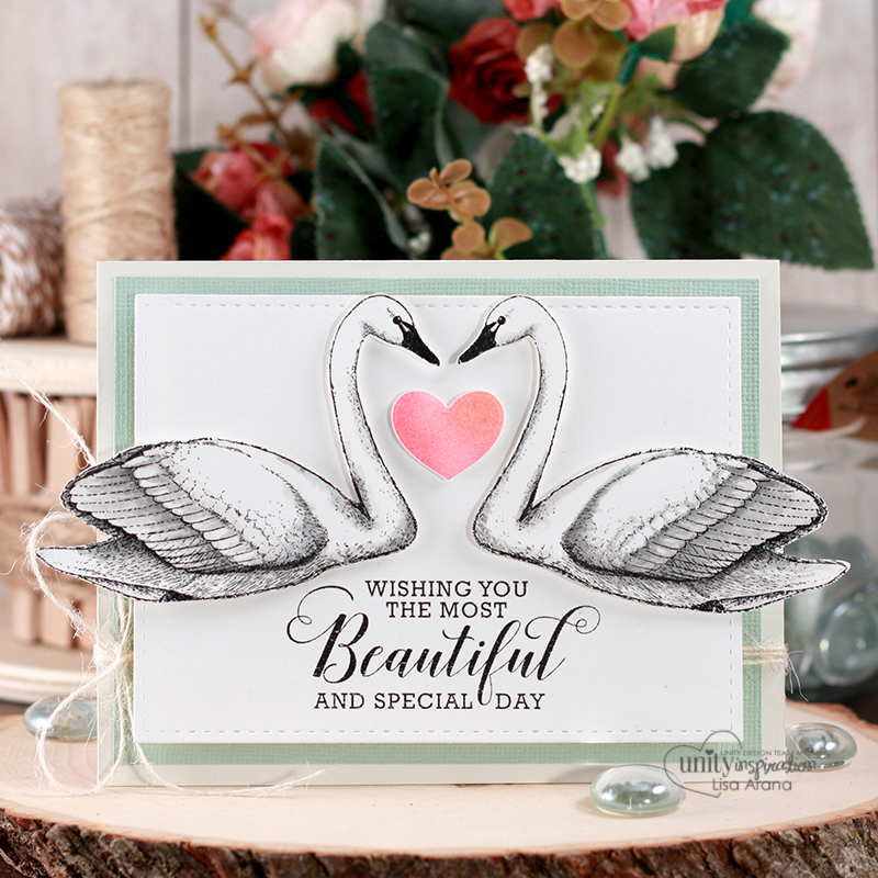 Sharing a lovely swan card for a special day like a birthday or wedding day. These swans are stamps in a mirror image and colored with Distress inks. All stamps are by Unity Stamp Company. More inspiration on dahlhouse-designs.com. #handmade #cardmaking #card #ideas #howto #tutorial #video #papercrafts #unitystampco #diecutting #watercolor #distressinks #ranger
