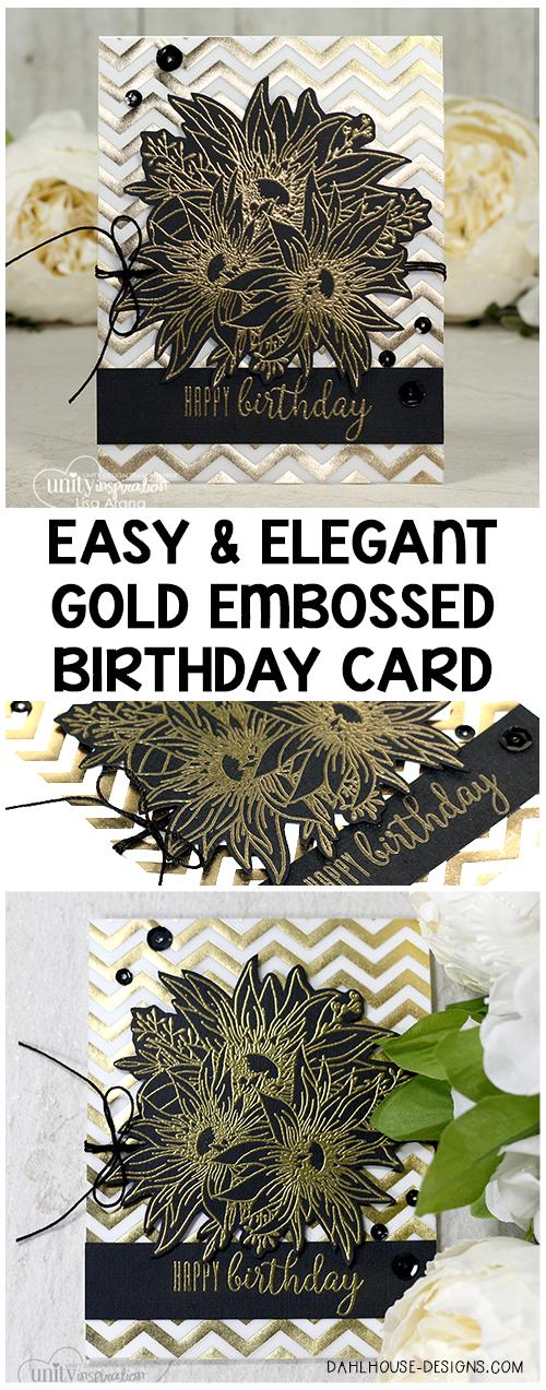 Easy and Elegant Golden Birthday Card + Video   dahlhouse designs