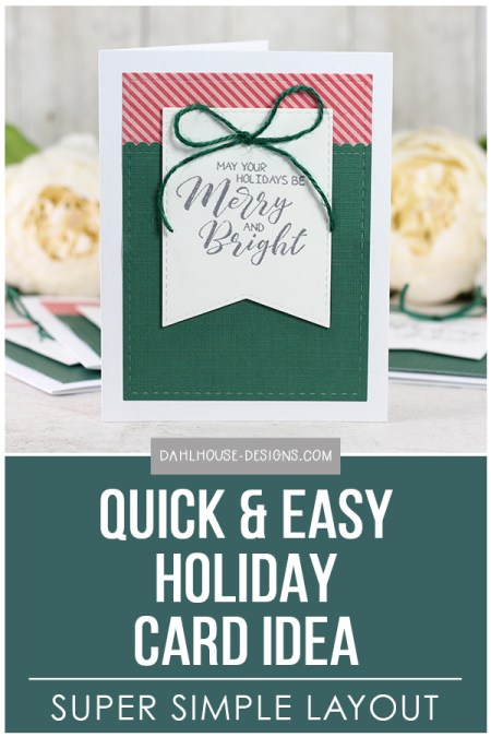 Sharing a quick and easy card idea using some simple die cutting for a holiday or Christmas card. Blog tutorial and quick video included. The images are from the A Joyous Season Unity Stamp Company stamp set. More inspiration on dahlhouse-designs.com #cardmaking #stamping #ideas #diy #howto #tutorial #video #handmade #dahlhousedesigns #unitystampco #diecutting #holiday #christmas #easy