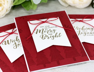 Sharing a quick and easy card idea for a watermarked background holiday or Christmas card with a tutorial and quick video. The images are from the A Joyous Season Unity Stamp Company stamp set. #cardmaking #stamping #ideas #diy #howto #tutorial #video #handmade #dahlhousedesigns #unitystampco #watermark #holiday #christmas #easy