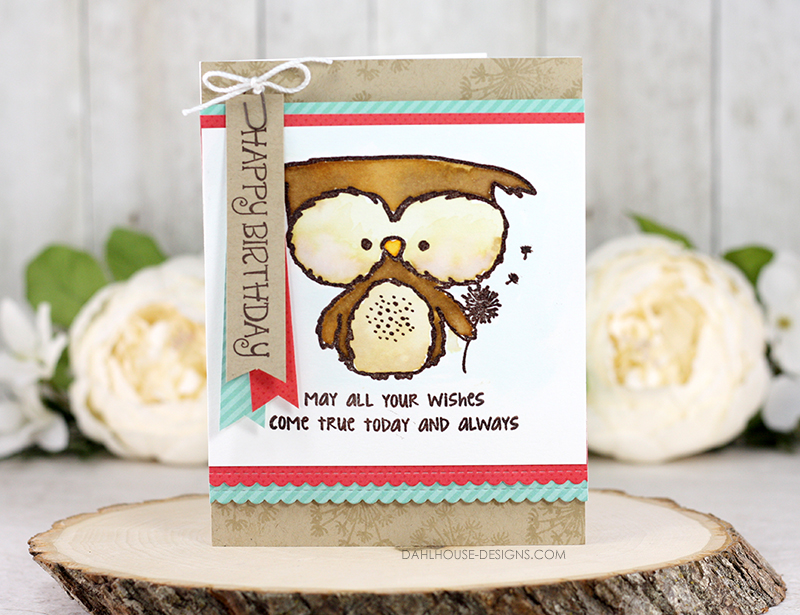 Sharing a card idea for a fun watercolor birthday owl card with a tutorial and quick video. A fun watermark background with a cute owl watercolored with Distress Inks. The images are from the Owlie Wishes Unity Stamp Company stamp set. More inspiration on dahlhouse-designs.com.  #cardmaking #cards #stamping #dahlhousedesigns #unitystampco #ideas #diy #howto #tutorial #video #handmadecards #diecutting #birthday #watercolor #distressink