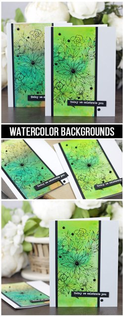Sharing a card idea for creating easy watercolor backgrounds using spray inks with a tutorial and quick video. The images are from the Every Single Day Unity Stamp Company stamp set. More inspiration on dahlhouse-designs.com.   #cardmaking #cardmaker #cards #stamping #dahlhousedesigns #unitystampco #ideas #diy #howto #tutorial #video #handmadecards #diecutting #sprayink #distressink #dylusional #watercolor #background #birthday