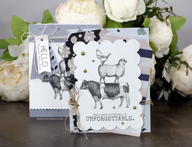 Sharing a lovely patterned paper layered card idea with a tutorial and quick video. The images are from the Funny Farm Unity Stamp Company stamp set. More inspiration on dahlhouse-designs.com.    #cardmaking #cardmaker #cards #stamping #dahlhousedesigns #unitystampco #handmadecards #diecutting #farmanimals