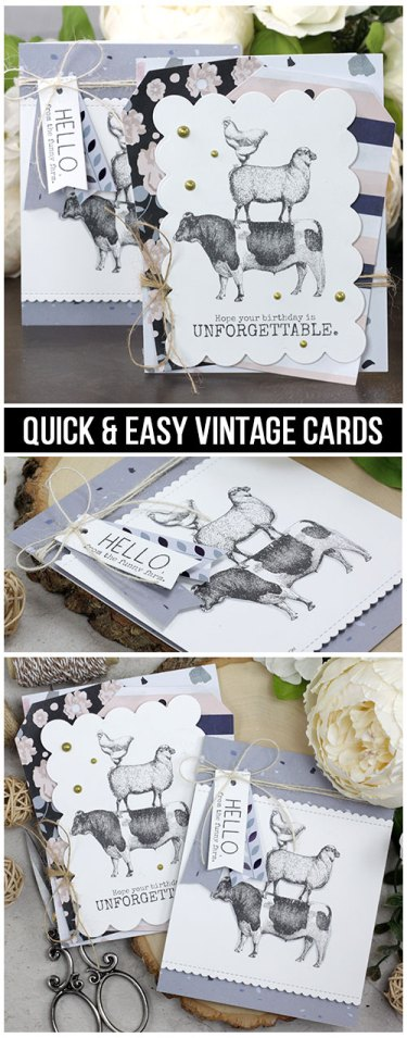 Sharing a quick & easy card idea with a tutorial and quick video. The images are from the Funny Farm Unity Stamp Company stamp set. More inspiration on dahlhouse-designs.com.   #cardmaking #cardmaker #cards #stamping #dahlhousedesigns #unitystampco #handmadecards #diecutting