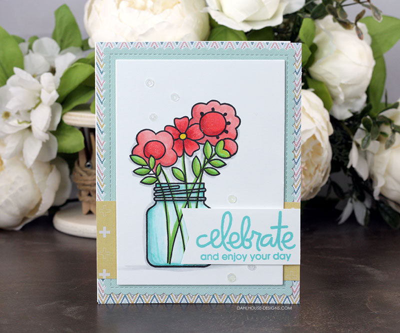 Sharing a birthday card idea with Copic coloring with a tutorial and quick video. The images are from the Birthday Bash and Best Buds Paper Smooches stamp set. More inspiration on dahlhouse-designs.com.   #cardmaking #cardmaker #cards #stamping #dahlhousedesigns #papersmooches #handmadecards #diecutting #diy #carddesign #birthdaycard #cardcraft #cardvideo #copics #coloring
