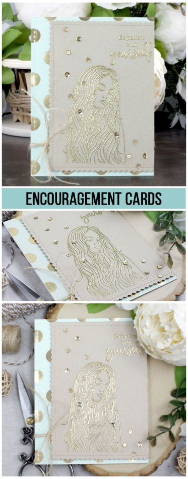 Sharing an encouragement card idea with lots of gold accents and a tutorial plus a quick video. The images are from the Patience with Yourself Unity Stamp Company stamp set. More inspiration on dahlhouse-designs.com.   #cardmaking #cardmaker #cards #stamping #dahlhousedesigns #unitystampco #handmadecards #diecutting #diy #carddesign #cardcraft #support #encouragement