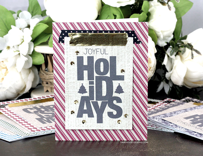 Sharing a quick and easy Holiday or Christmas card idea using washi tape with a tutorial and quick video. Great for mass production or a last minute card. The images are from the Say It Big {Holiday} Unity Stamp Company stamp set. More inspiration on dahlhouse-designs.com. #cardmaking #cardmaker #cards #stamping #dahlhousedesigns #unitystampco #handmadecards #diecutting #diy #carddesign #cardcraft #christmascard #holidaycard #holidays #christmas #washi