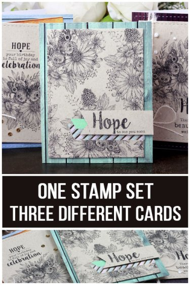 Sharing a card idea for as set of cards with a tutorial and quick video. I love quick and easy cards with minimal supplies. Images are from the Hope is a Beautiful Thing stamp set by Unity Stamp Company  More inspiration on dahlhouse-designs.com.   #cardmaking #cardmaker #cards #stamping #dahlhousedesigns #unitystampco #handmadecards #diecutting #diy #carddesign #cardcraft #hope #cas