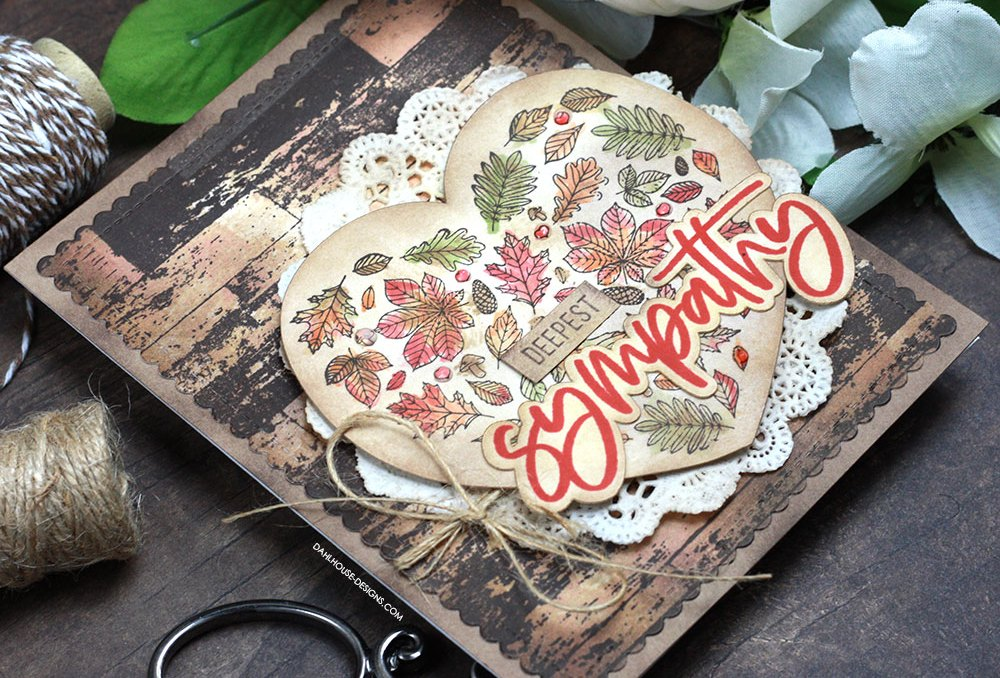 Sharing an antiqued sympathy card idea with a tutorial & quick video. The images are from the Heart of Autumn Unity Stamp Company stamp set. More inspiration on dahlhouse-designs.com. #cardmaking #cardmaker #cardmakingideas #cardinspiration #simplecards #stamping #dahlhousedesigns #unitystampco #handmadecards #diecutting #carddesign #cardtechnique #sympathycard