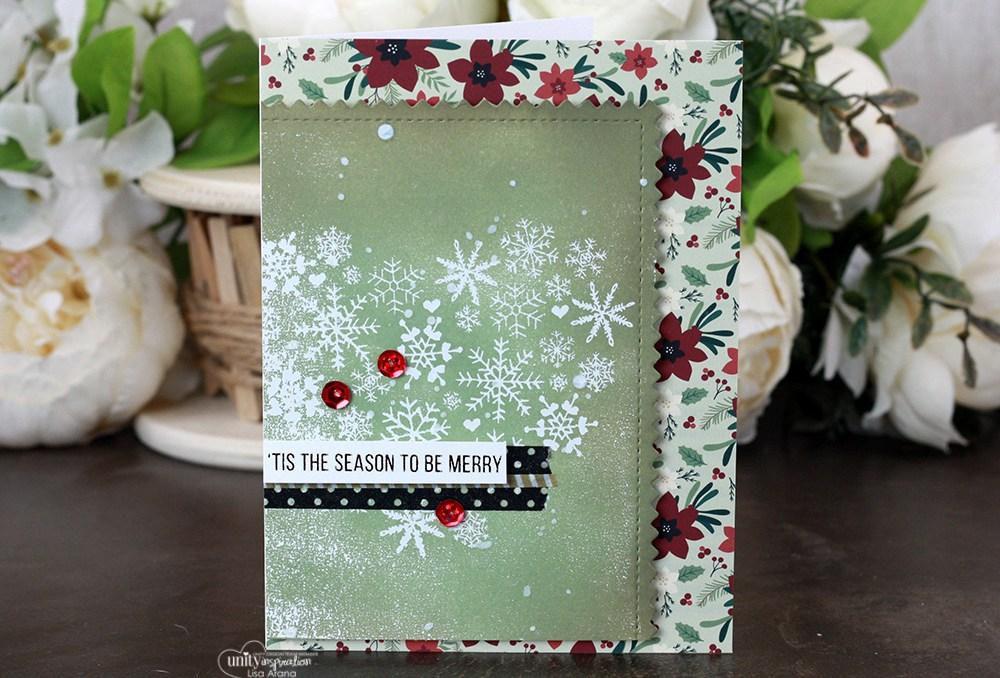 Sharing a simple Christmas card idea with a tutorial & quick video. Ink blending and foiling. The images are from the Heart of Christmas Unity Stamp Company stamp set. More inspiration on dahlhouse-designs.com. #cardmaking #cardmaker #cardmakingideas #cardinspiration #simplecards #stamping #dahlhousedesigns #unitystampco #handmadecards #diecutting #carddesign #cardtechnique #christmascard #minc #decofoil #thermoweb #timholtz #distressink