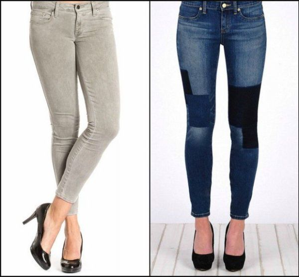 Left: The Shya Crop in Cinder is a great gray to pair with spring pastels. Right: Patchwork denim is one of the new embellishments for spring. (Shopadorn.com)