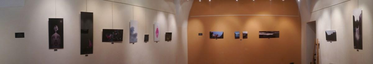 Panorama de la salle d'exposition de la Mairie avec les tableaux accrochés