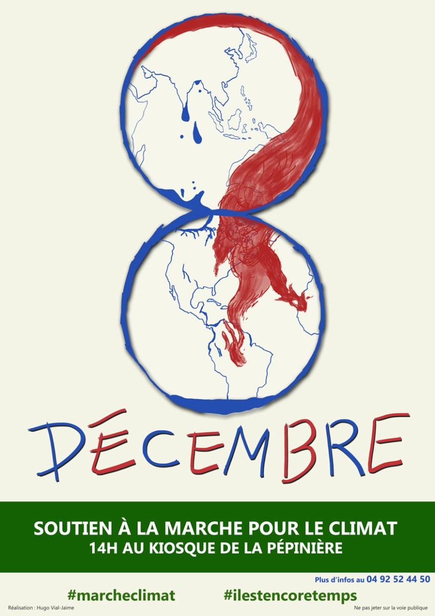 Affiche évenementielle pour la marche pour le climat du 8 décembre 2018