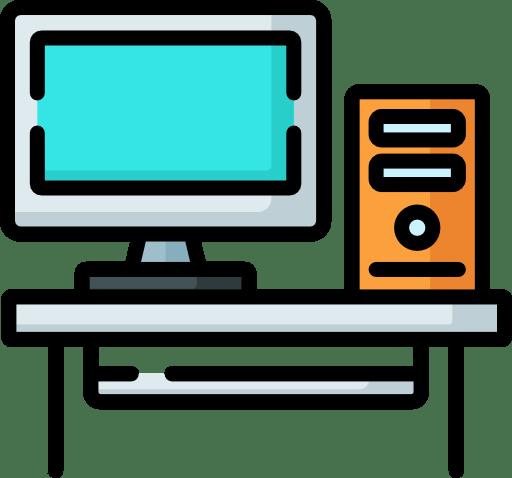 Icone représentant le dépannage informatique. Un écran et une tour.