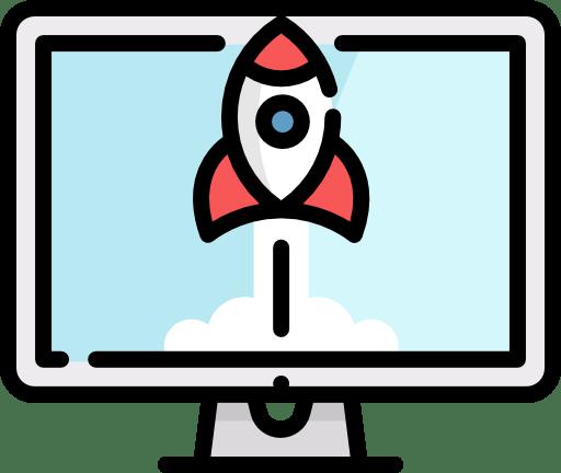 Une fusée dans un écran d'ordinateur. Icone représentant les sites vitrines.