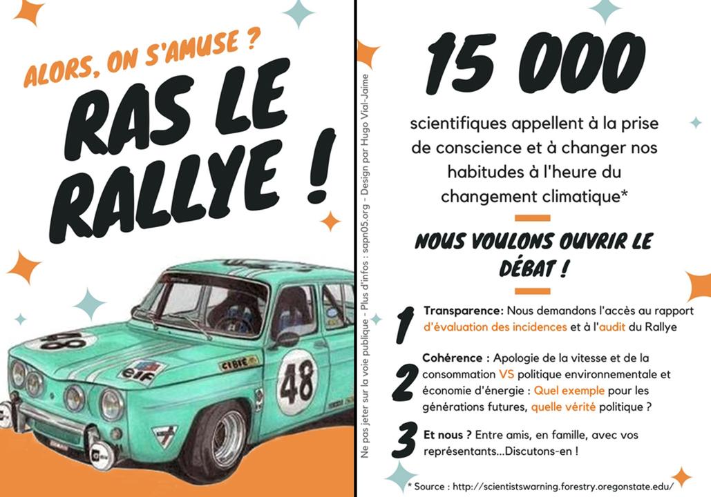 Flyer pour manifester contre l'évenement du Rallye Monte-Carlo
