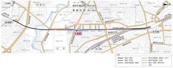 JR埼京線十条駅-連続立体交差化計画-平面図