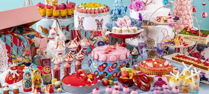 ヒルトン東京のレトロ可愛い姫スイーツ30種類&話題の'とてたま'の世界「ジャポニズム~花よりマカロン」デザートフェア